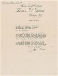 THOMAS A. EDISON - TYPED LETTER SIGNED 03011922