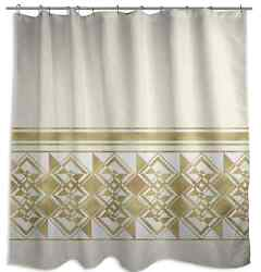 Ivory Weighted Shower Curtain Soft Polyester Fabric Gold Colors Bathroom Design