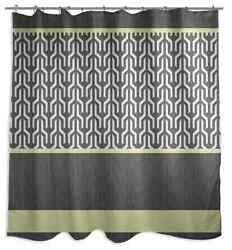 Trident Shower Curtain Soft Polyester Fabric Yellow Grey Colors Bathroom Design