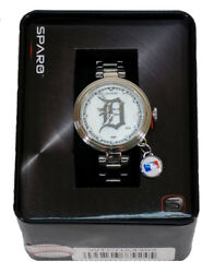 Detroit Mlb Baseball Tigers Charm Watch With Stainless Steel Band