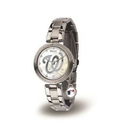Washington Mlb Baseball Nationals Charm Watch With Stainless Steel Band