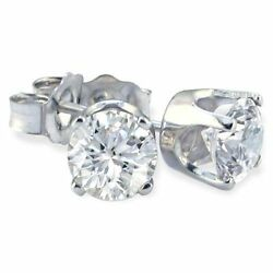 1..20 Carat Diamond Stud Earrings 14k Wh V/s G Color.luxurious Cut All Natural