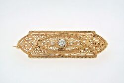 Antique Filigree 0.35 C.t.w Diamond Pin Brooch 10k Yellow Gold 6.8gm