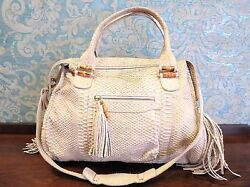 Jenrigo Italian Designer Python Embossed Cream Color Leather Hobo Bag $850