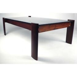 Percival Lafer Vintage Mid-century Modern Hardwood And Glass Coffee Table