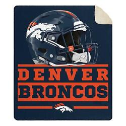 New Nfl Denver Broncos Soft Large Throw Blanket With Sherpa 60x70