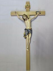 Massive - 49 Wall Crucifix, Hand Painted And Hand Carved, Wood Cross And Corpus