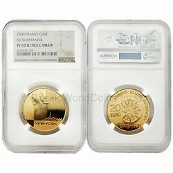 France 2003 Ss Normandie 20 Euro Gold Ngc Pf69 Ultra Cameo