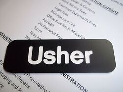 10 Black With White Letters Engraved Usher Name Tags Church Badges Pin Back