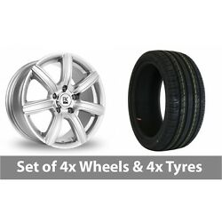 4 X 18 Bk Racing 808 Silver Polished Alloy Wheel Rims And Tyres - 225/40/18