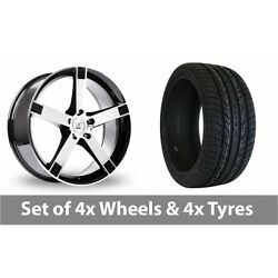 4 X 20 Bk Racing 677 Black Polished Alloy Wheel Rims And Tyres - 295/40/20