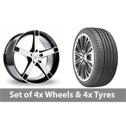 4 X 20 Bk Racing 677 Black Polished Alloy Wheel Rims And Tyres - 275/35/20