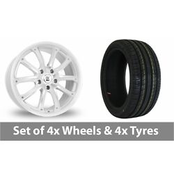 4 X 18 Bk Racing 201 White Polished Alloy Wheel Rims And Tyres - 225/60/18