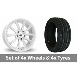 4 X 18 Bk Racing 201 White Polished Alloy Wheel Rims And Tyres - 215/40/18