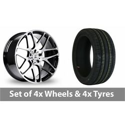 4 X 18 Bk Racing 170 Black Polished Alloy Wheel Rims And Tyres - 245/50/18