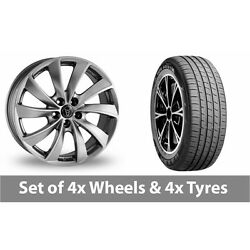 4 X 19 Wolfrace Lugano Shadow Chrome Alloy Wheel Rims And Tyres - 255/55/19