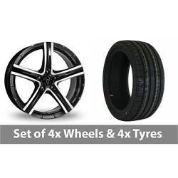 4 X 18 Wolfrace Quinto Black Polished Alloy Wheel Rims And Tyres - 255/45/18