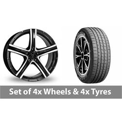 4 X 19 Wolfrace Quinto Black Polished Alloy Wheel Rims And Tyres - 255/45/19