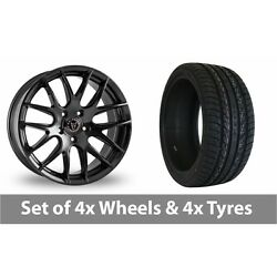 4 X 20 Wolfrace Munich Black Alloy Wheel Rims And Tyres - 255/45/20