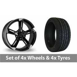 4 X 20 Wolfrace Genesis Black Polished Alloy Wheel Rims And Tyres - 255/45/20