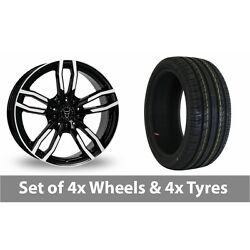 4 X 18 Wolfrace Drive Black Polished Alloy Wheel Rims And Tyres - 225/50/18