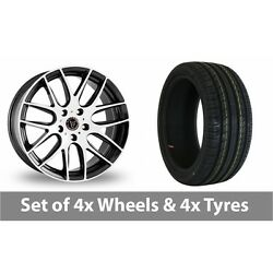 4 X 18 Wolfrace Munich Black White Alloy Wheel Rims And Tyres - 255/45/18