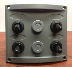 Pactrade Marine Boat Grey 4 Gang Ip65 Switch Panel Neoprene Capped Switches