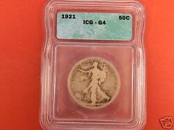 1921 Walking Liberty Half Icg G4. A Very Low Mintage And Scarce Silver Walker