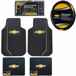 New 6pcs Chevy Elite Logo Car Truck Front Rear Floor Mats And Steering Wheel Cover