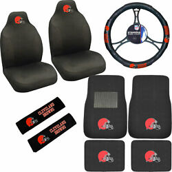 9pcs Set Nfl Cleveland Browns Seat Covers Floor Mats Steering Wheel Cover