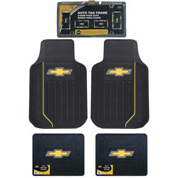 5pc Set Chevy Elite Style Car Truck Front Rear Floor Mats License Plate Frame