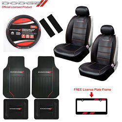 New 10 Pcs Dodge Elite Car Truck Front Seat Covers Floor Mats Wheel Cover + Gift
