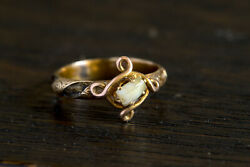 Very Rare Antique English 9k Gold Victorian Mourning Ring W/ Milk Tooth And Hair