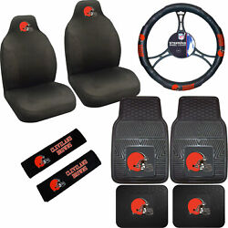 New Nfl Cleveland Browns Car Truck Seat Covers Steering Wheel Cover Floor Mats