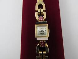 Vintage Retro 14k Solid Yellow Gold And Ruby Gemstone Ladies Watch Serviced