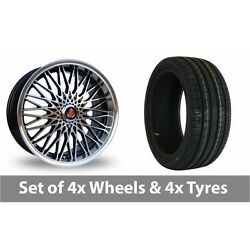 4 X 17 Axe Ex 3hree Black Polished Alloy Wheel Rims And Tyres - 205/45/17