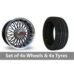 4 X 17 Axe Ex 3hree Black Polished Alloy Wheel Rims And Tyres - 245/45/17