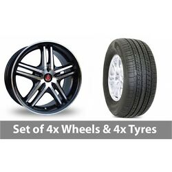 4 X 17 Axe Ex 5ive Black Polished Alloy Wheel Rims And Tyres - 235/65/17