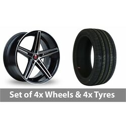 4 X 18 Axe Ex14 Black Polished Alloy Wheel Rims And Tyres - 215/40/18