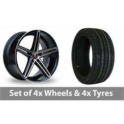 4 X 18 Axe Ex14 Black Polished Alloy Wheel Rims And Tyres - 225/35/18