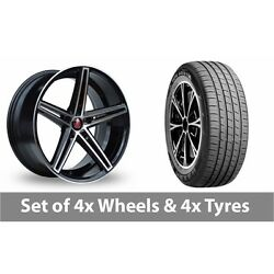 4 X 19 Axe Ex14 Black Polished Alloy Wheel Rims And Tyres - 255/45/19