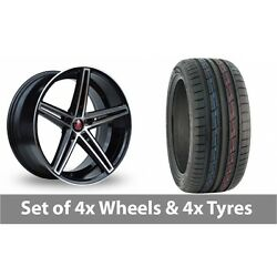4 X 19 Axe Ex14 Black Polished Alloy Wheel Rims And Tyres - 235/50/19