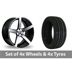 4 X 18 Axe Ex18 Black Polished Alloy Wheel Rims And Tyres - 225/50/18