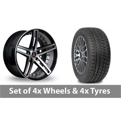 4 X 20 Axe Ex20 Black Polished Alloy Wheel Rims And Tyres - 245/45/20