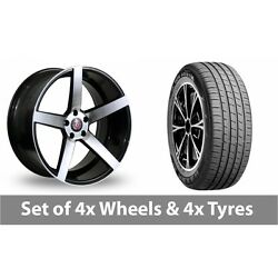 4 X 19 Axe Ex18 Black Polished Alloy Wheel Rims And Tyres - 235/45/19
