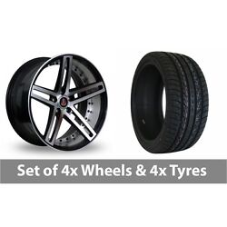 4 X 22 Axe Ex20 Black Polished Alloy Wheel Rims And Tyres - 265/35/22
