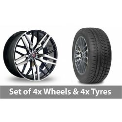 4 X 20 Axe Ex30 Black Polished Alloy Wheel Rims And Tyres - 225/35/20