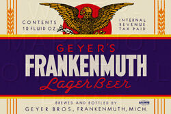 16 X 24 Reproduced Geyer Bros. Frankenmuth Beer Label On Canvas