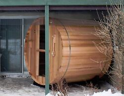 Barrel Sauna, Canadian Pine, Electric Heater Included, 6 Feet,Fits 4 (BST-66-U)