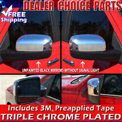 For 2010-2018 Ram 2500 3500 Chrome Mirror Covers No Turn Signal Unpainted
